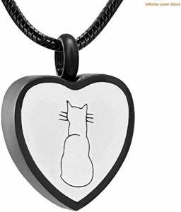 Urnenschmuck Katze mit Herz schlicht