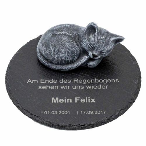 Gedenkstein Katze mit Gravur