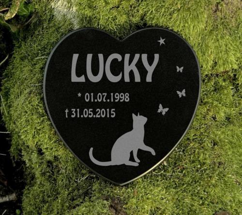 Katzen Gedenkstein Marmor Herz mit Gravur