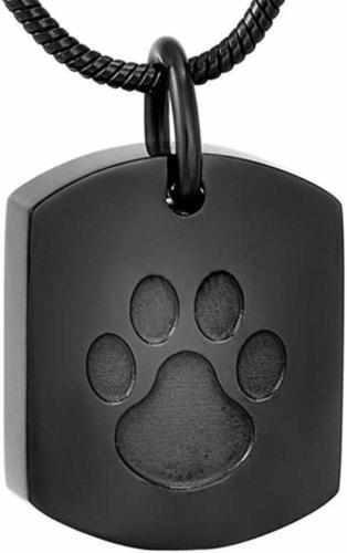 Urnenschmuck Katzenurne Kette Pfote schwarz